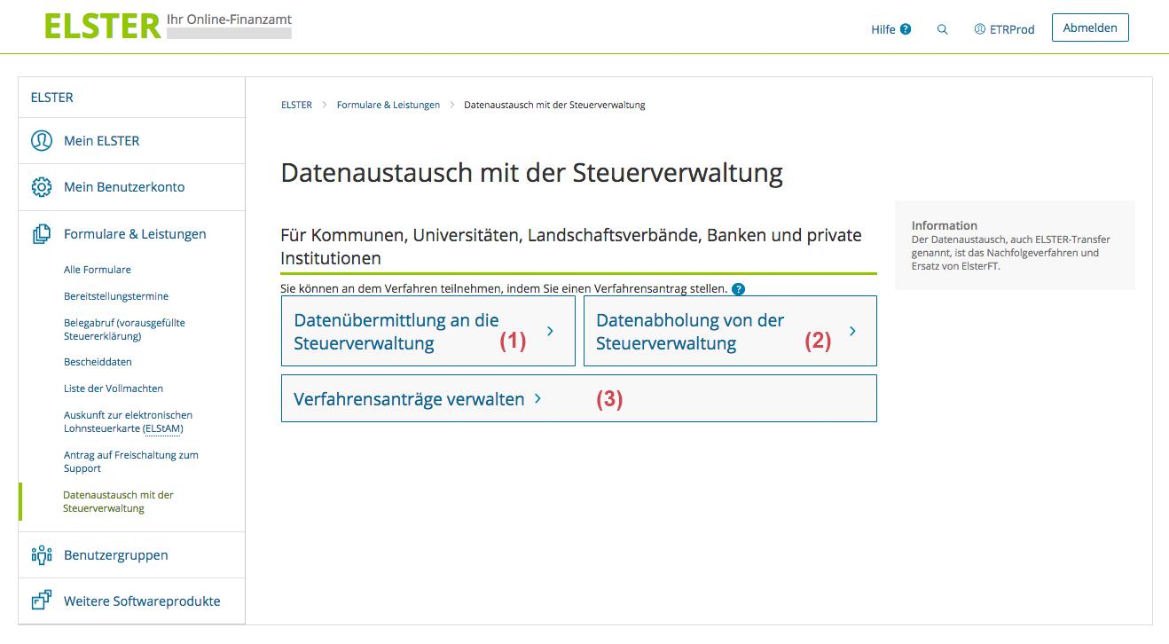 Erlangen Von Berechtigungen Zur Ubermittlung Abholung Von Elster Transfer Verfahren